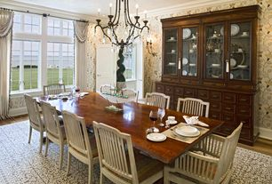 Traditional Dining Room with Chandelier, interior wallpaper, Standard height, can lights, Casement, Wall sconce