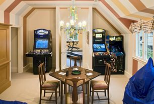 Traditional Game Room with Chandelier, interior wallpaper, Carpet, High ceiling