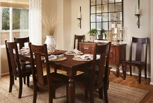 Traditional Dining Room with Wall sconce, High ceiling, Wilton dining chair, Grand palais mirror, Eli jute rug
