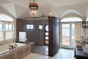 Contemporary Master Bathroom with Arched window, French doors, Progress lighting  3 light foyer light, Vessel sink