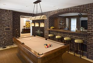 Contemporary Game Room with Cuetec R-360 Edge Stained Pool Cue, Pendant light, Aramith Super Pro Value Ball Pak