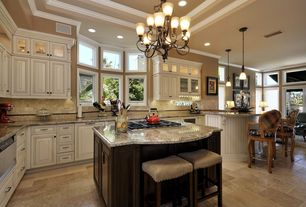 Traditional Kitchen with Bay window, Crosshatch stool, Raised panel, Limestone Tile, limestone tile floors, Stone Tile