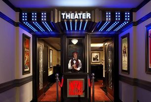 Contemporary Home Theater with Podium, Male full body fiberglass realistic mannequin, Paint, Red velvet crowd control rope