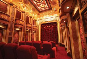 Traditional Home Theater with interior wallpaper, Carpet, flush light, can lights, Crown molding, High ceiling, Pendant light