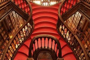 Traditional Staircase with Double curved staircase, Lello bookstore, Art nouveau, Livraria lello, portugal