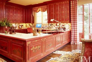 Eclectic Home Office with Standard height, can lights, Laminate floors, Paint, Crown molding, French doors, Casement