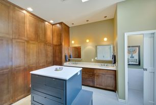 Traditional Master Bathroom with specialty door, Undermount sink, Flat panel cabinets, European Cabinets, Limestone, Flush