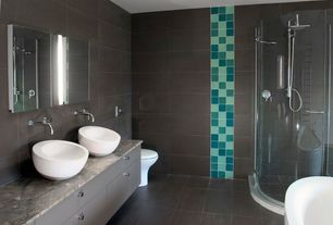 Contemporary Master Bathroom with Bathtub, Complex marble counters, Rain shower, frameless showerdoor, Wall Tiles, Paint 1