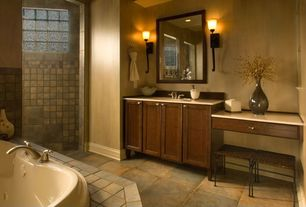 Craftsman Master Bathroom with Wall sconce, Master bathroom, Bathtub, Flat panel cabinets, Framed Partial Panel, can lights