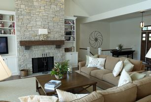 Cottage Living Room with El dorado roughcut stone in vineyard trail