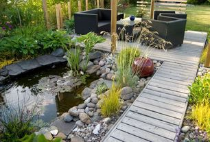Modern Deck with Pathway, Style selections fieldstone gray ultra-low maintenance (ulm) composite decking, Pond