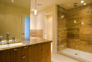 Contemporary Master Bathroom with Concrete floors, European Cabinets, Pendant light, Shower, Standard height, Inset cabinets