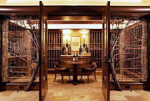 Mediterranean Wine Cellar with Mediterranean walnut pattern honed-unfilled-chipped travertine floor and wall tile