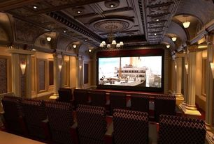 Traditional Home Theater with American Tin Ceilings Tiles, HB & G Round PermaCast Columns, Classical style, Classical columns