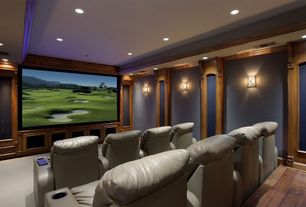 Contemporary Home Theater with can lights, Wall sconce, Paint 2, Berkline's - powerrecline 1200 home theater seating, Carpet