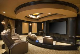 Contemporary Home Theater with Paint 2, Paint 1, Carpet
