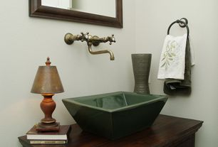 Cottage Powder Room with Wood counters, specialty door, European Cabinets, Elements of Design Forte Bathroom Sink