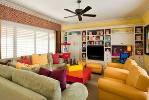 Modern Family Room with Carpet, Crown molding, Ceiling fan, Built-in bookshelf