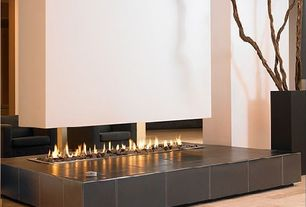 Contemporary Living Room with Paint 1, Fireplace, Modus Hanging Linefire Leatherbase fireplace