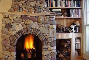 Rustic Living Room with stone fireplace, Hardwood floors, Built-in bookshelf