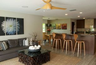 Contemporary Great Room with Built-in bookshelf, Ceiling fan, Laminate floors