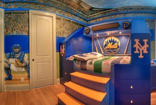 Modern Kids Bedroom with Sports themed, Mural, New york mets logo, Hardwood floors, Murals your way play ball mural, Paint