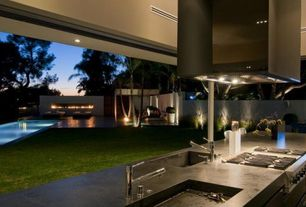 Contemporary Patio with Outdoor kitchen, Lap pool
