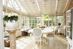 Traditional Patio with The Shade Store Flat Roman Shade, Ballard Designs Oval Back Louis XVI Side Chair