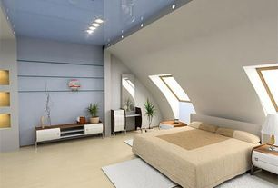 Contemporary Master Bedroom with Skylight, Standard height, Carpet, can lights
