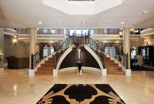Traditional Entryway with porcelain tile floors, Paint, Double curved grand staircase, Polished marble floors