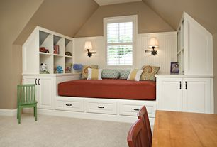Traditional Kids Bedroom with Carpet, Built-in bookshelf, Paintable white beadboard, Wooden painted kid's chair, Wall sconce