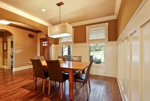Contemporary Dining Room with flush light, Quality Solid Wood Raised Panel Wainscoting- Available in two woods, Crown molding