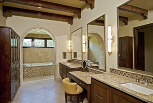Modern Master Bathroom with Wall sconce, Inset cabinets, Ceramic Tile, Double light sconce, Simple granite counters