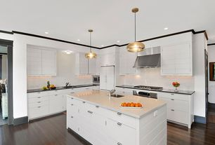 Contemporary Kitchen with Corian Solid Surface Countertop in Deep Nocturne