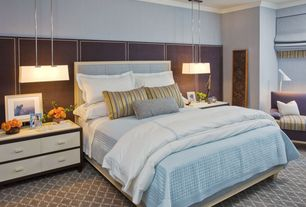 Contemporary Master Bedroom with Carpet, Pendant light, Crown molding