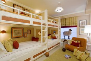 Contemporary Guest Bedroom with New modern floor lamp chess style body, flush light, Concrete floors, Hansa Sheep, Bunk beds