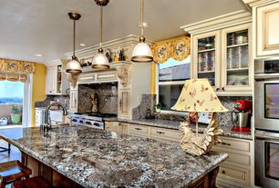 Traditional Kitchen with dishwasher, Framed Partial Panel, Paint, Concrete tile , arizona tile, VOLCANO, Granite, can lights