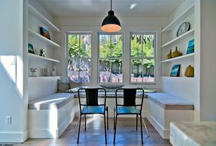 Contemporary Dining Room with Chintaly imports jade dining table, Pendant light, Window seat, Hardwood floors