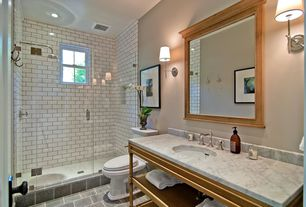 "Traditional 3/4 Bathroom with Giorbello Subway 6"" x 3"" Tile in Bright White, Golden Lighting Waverly 1 Light Wall Sconce"