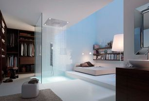Contemporary Master Bathroom with Custom shower, High ceiling, Virtu single handle vessel bathroom faucet, Vessel sink, Flush
