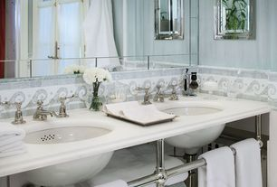 Traditional Master Bathroom with Blue celeste and thassos wave border mosaic polished