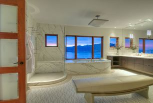 Contemporary Master Bathroom with Flush, French doors, Master bathroom, Complex marble counters, Complex Marble, Rain shower