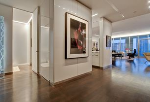 Contemporary Hallway with French doors, Transom window, Laminate floors