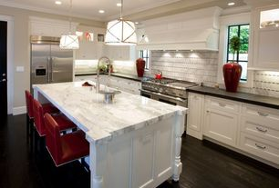 Contemporary Kitchen with Kitchen island, Concrete counters, Dal tile crema marfil classico 3x1/2 marquise polished mosaic