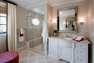Traditional Master Bathroom with Natural stone floor and wall tile, Undermount sink, Inset cabinets, Crown molding