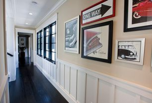 Contemporary Hallway with Chair rail, Gallery wall, Oak - Midnight 5 in. Engineered Hardwood Wide Plank, Crown molding