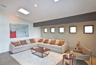 Contemporary Living Room with High ceiling, Concrete tile