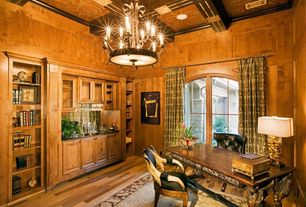 Eclectic Home Office with Built-in bookshelf, French doors, can lights, Hardwood floors, High ceiling, Crown molding