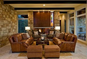 Modern Living Room with Standard height, insert fireplace, Transom window, Built-in bookshelf, Exposed beam, French doors