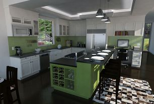 Contemporary Kitchen with Tile Bar Loft Electric Lime 2x8 Polished Glass Tiles, Flat panel cabinets, Glass Tile, Flush